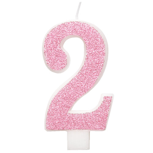 Number 2 Pink Glitz Glitter Birthday Candle 8cm Product Image