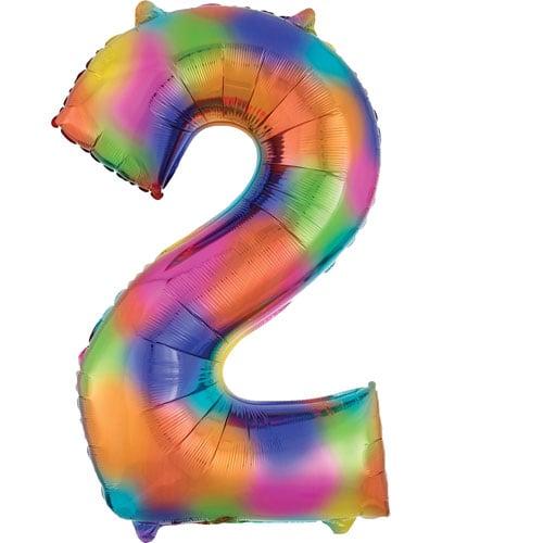 Number 2 Rainbow Splash Helium Foil Giant Balloon 83cm / 33 in Product Image