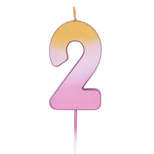 Number 2 Rose Gold Ombre Pick Birthday Candle 11cm