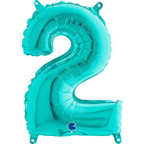Number 2 Tiffany Blue Air Fill Foil Balloon 36cm / 14 in