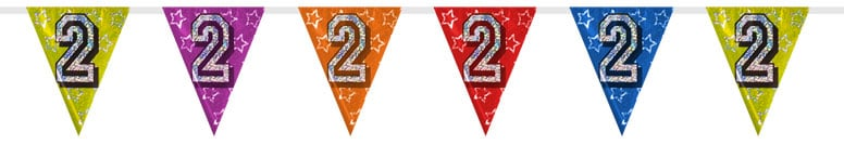 Number 2 Triangle Holographic Bunting - 8m Product Image