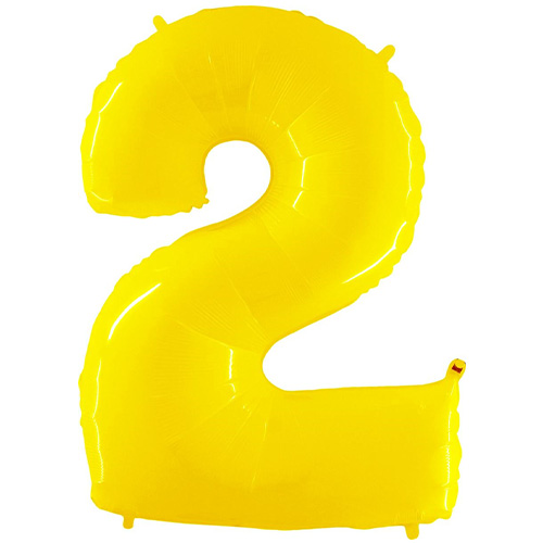 Number 2 Yellow Helium Foil Giant Balloon 102cm / 40 in Product Image