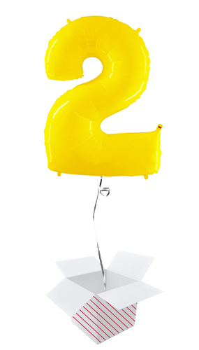Number 2 Yellow Helium Foil Giant Balloon - Inflated Balloon in a Box Product Image