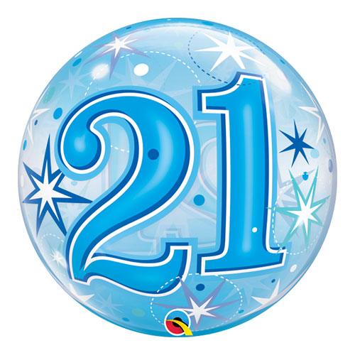 Number 21 Blue Starbust Sparkle Bubble Helium Qualatex Balloon 56cm / 22 in