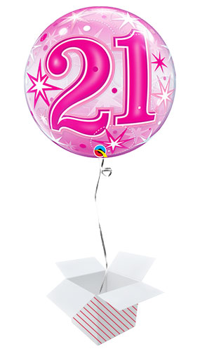 Number 21 Pink Starbust Sparkle Bubble Helium Qualatex Balloon - Inflated Balloon in a Box