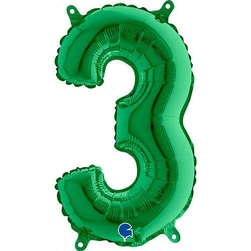 Number 3 Green Air Fill Foil Balloon 35cm / 14 in