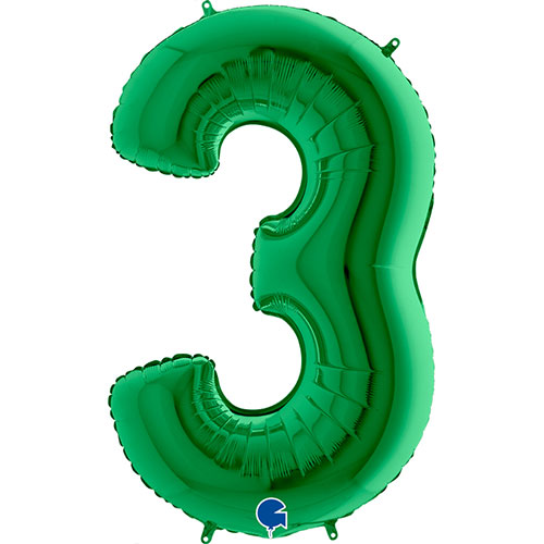 Green Number 3 Helium Foil Giant Balloon 102cm / 40 in