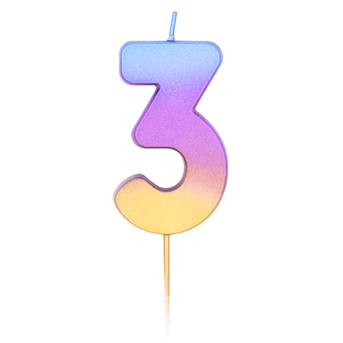 Number 3 Rainbow Ombre Pick Birthday Candle 11cm Product Image