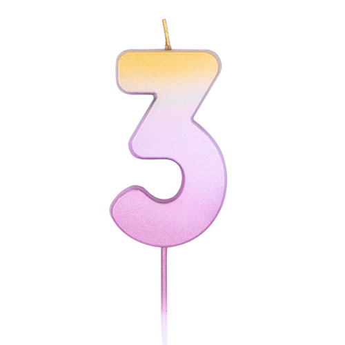 Number 3 Rose Gold Ombre Pick Birthday Candle 11cm Product Image