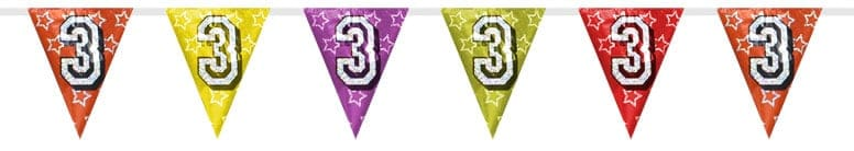 Number 3 Triangle Holographic Bunting - 8m Product Image