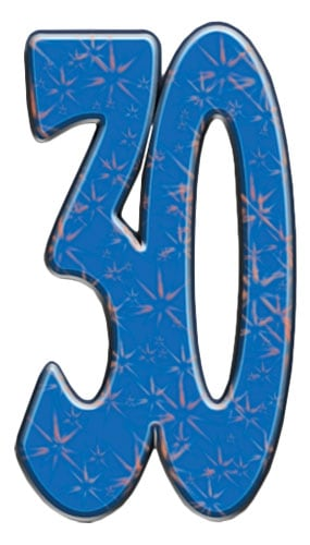 Number 30 Lifesize Cardboard Cutout - 171cm