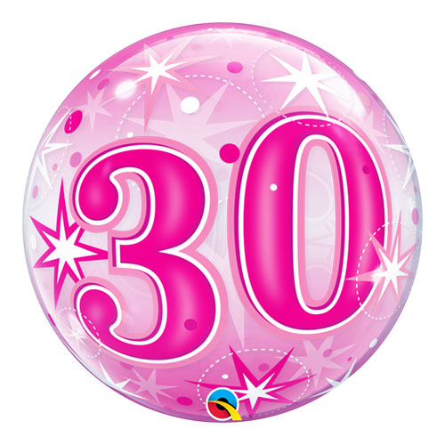 Number 30 Pink Starbust Sparkle Bubble Helium Qualatex Balloon 56cm / 22 in