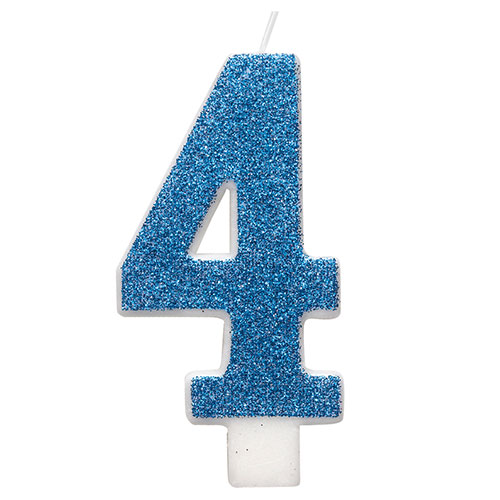 Number 4 Blue Glitz Glitter Birthday Candle 8cm