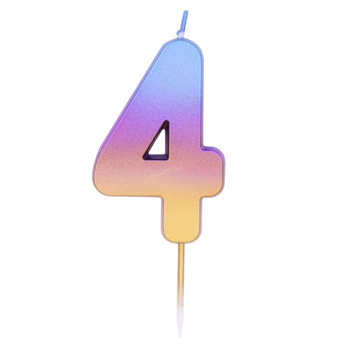 Number 4 Rainbow Ombre Pick Birthday Candle 11cm Product Image