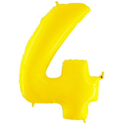 Number 4 Yellow Helium Foil Giant Balloon 102cm / 40 in Product Image