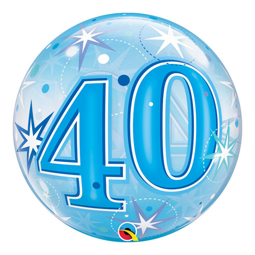 Number 40 Blue Starbust Sparkle Bubble Helium Qualatex Balloon 56cm / 22 in Product Image