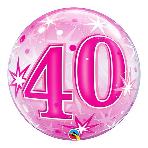 Number 40 Pink Starbust Sparkle Bubble Helium Qualatex Balloon 56cm / 22 in