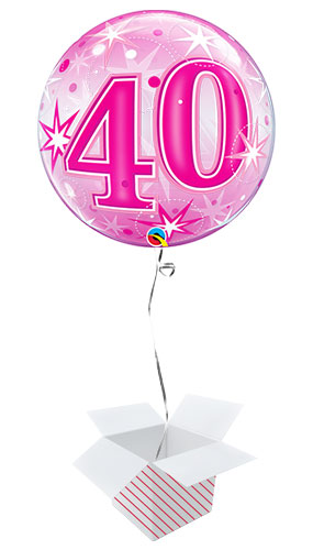 Number 40 Pink Starbust Sparkle Bubble Helium Qualatex Balloon - Inflated Balloon in a Box