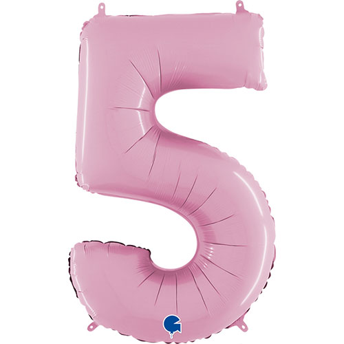 Pastel Pink Number 5 Helium Foil Giant Balloon 66cm / 26 in Product Image