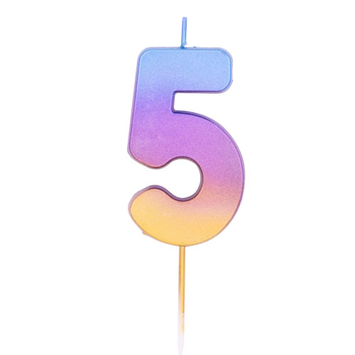 Number 5 Rainbow Ombre Pick Birthday Candle 11cm Product Image