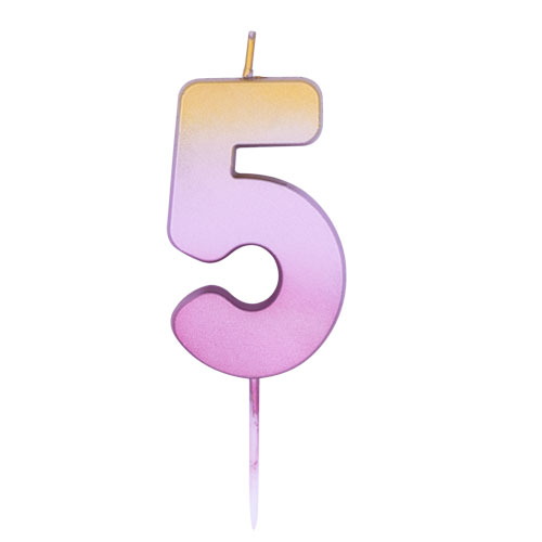 Number 5 Rose Gold Ombre Pick Birthday Candle 11cm Product Image