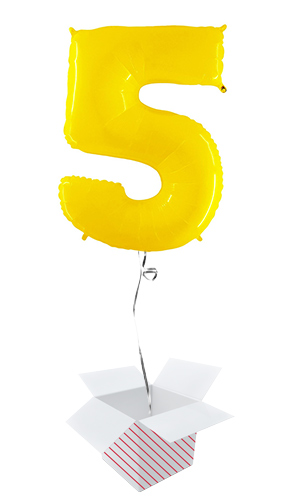 Number 5 Yellow Helium Foil Giant Balloon - Inflated Balloon in a Box Product Image