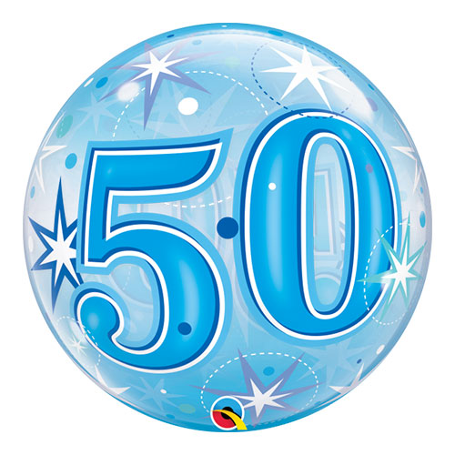 Number 50 Blue Starbust Sparkle Bubble Helium Qualatex Balloon 56cm / 22 in Product Image