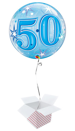 Number 50 Blue Starbust Sparkle Bubble Helium Qualatex Balloon - Inflated Balloon in a Box