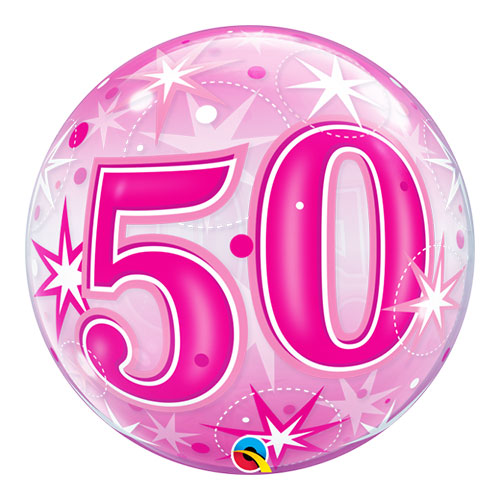 Number 50 Pink Starbust Sparkle Bubble Helium Qualatex Balloon 56cm / 22 in