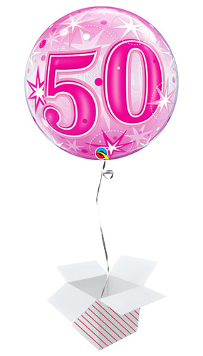 Number 50 Pink Starbust Sparkle Bubble Helium Qualatex Balloon - Inflated Balloon in a Box