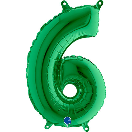 Number 6 Green Air Fill Foil Balloon 35cm / 14 in