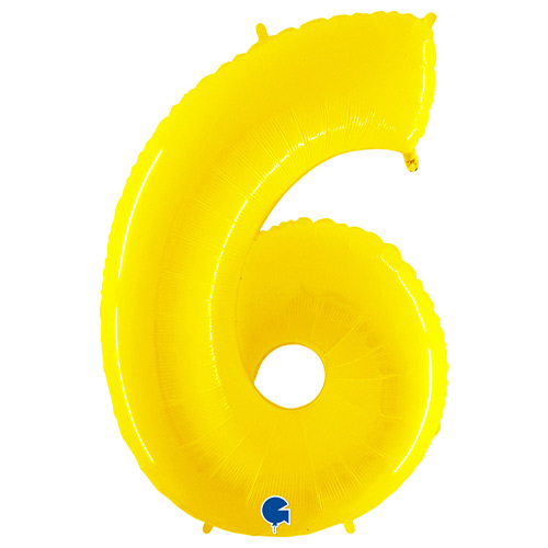 Number 6 Yellow Helium Foil Giant Balloon 102cm / 40 in