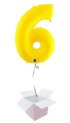 Number 6 Yellow Helium Foil Giant Balloon - Inflated Balloon in a Box Product Image