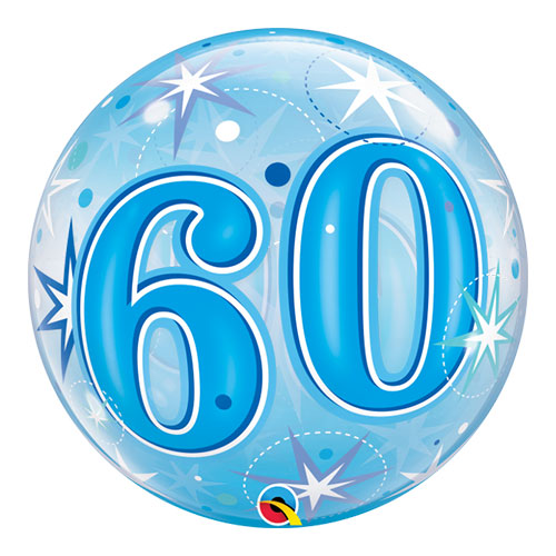 Number 60 Blue Starbust Sparkle Bubble Helium Qualatex Balloon 56cm / 22 in Product Image