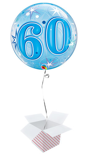 Number 60 Blue Starbust Sparkle Bubble Helium Qualatex Balloon - Inflated Balloon in a Box