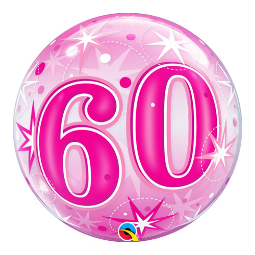 Number 60 Pink Starbust Sparkle Bubble Helium Qualatex Balloon 56cm / 22 in Product Image
