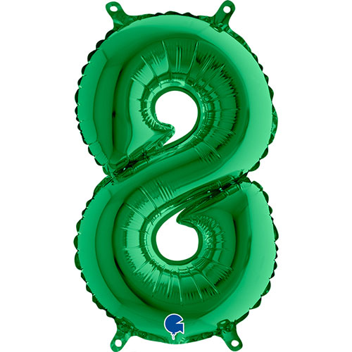 Number 8 Green Air Fill Foil Balloon 35cm / 14 in