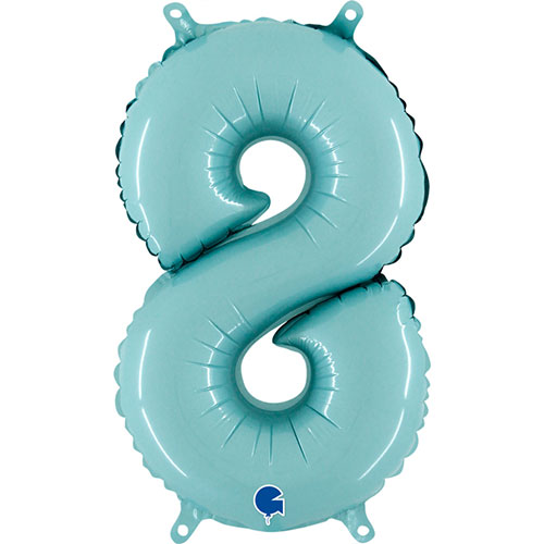 Number 8 Pastel Blue Air Fill Foil Balloon 35cm / 14 in