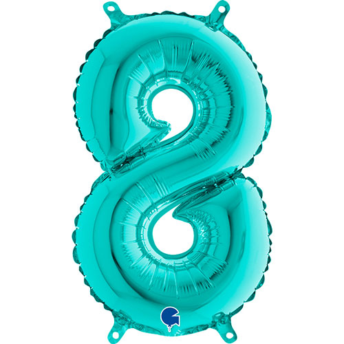 Number 8 Tiffany Blue Air Fill Foil Balloon 36cm / 14 in