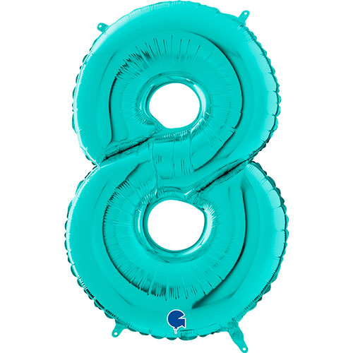 Tiffany Blue Number 8 Helium Foil Giant Balloon 66cm / 26 in Product Image