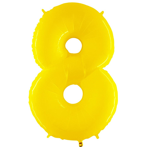 Number 8 Yellow Helium Foil Giant Balloon 102cm / 40 in