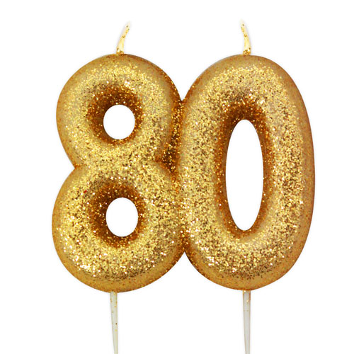 Number 80 Glitter Gold Pick Moulded Cake Candle 9cm