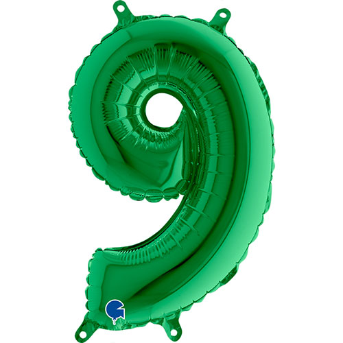 Number 9 Green Air Fill Foil Balloon 35cm / 14 in