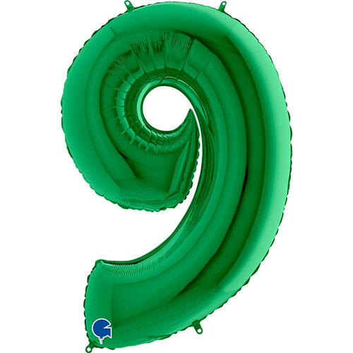 Green Number 9 Helium Foil Giant Balloon 102cm / 40 in Product Image