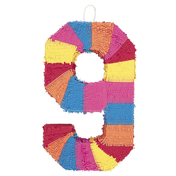 Number 9 Shaped Standard Pinata Product Image