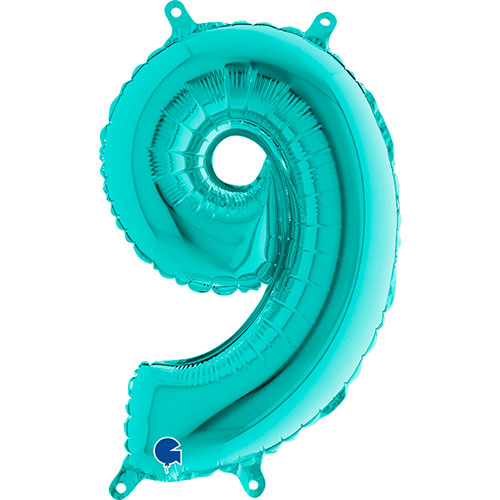 Number 9 Tiffany Blue Air Fill Foil Balloon 36cm / 14 in Product Image