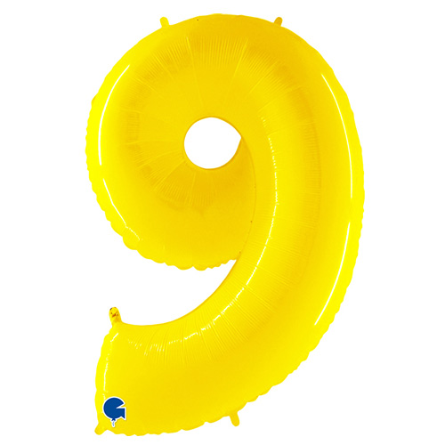 Number 9 Yellow Helium Foil Giant Balloon 102cm / 40 in Product Image