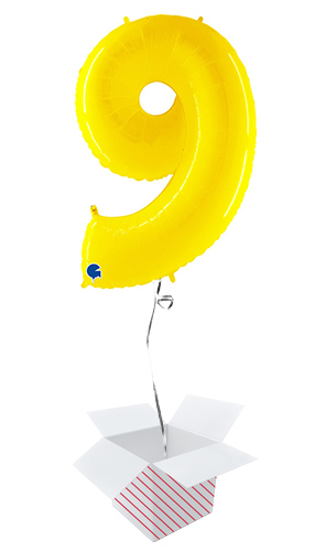 Number 9 Yellow Helium Foil Giant Balloon - Inflated Balloon in a Box Product Image