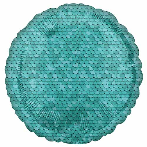 Ocean Blue Sequins Round Foil Helium Balloon 43cm / 17 in