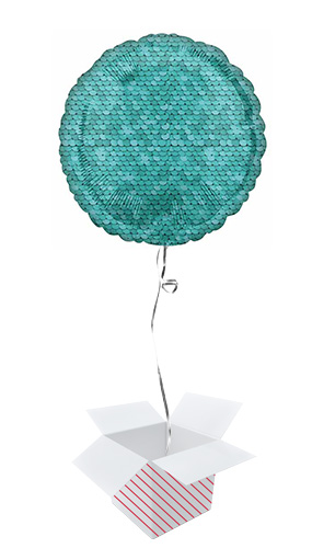 Ocean Blue Sequins Round Foil Helium Balloon - Inflated Balloon in a Box Product Image